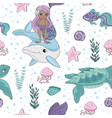 ocean tale mermaid princess pattern vector image vector image
