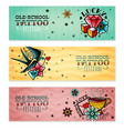 old school tattoo banners set vector image
