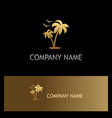 palm tree seagul beach gold logo vector image vector image