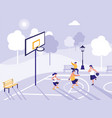 people playing on basketball field vector image vector image
