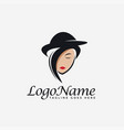 pretty woman with hat logo icon vector image vector image