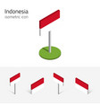 republic of indonesia flag set of 3d isometric vector image vector image
