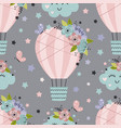 seamless pattern with hot air balloon and flowers vector image vector image