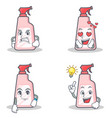 set of cleaner character with angry love waiting vector image vector image