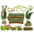 set of jungle element vector image