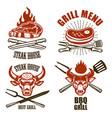 set of steak house emblem templates bbq grill menu vector image vector image