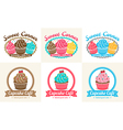 Set of sweet cupcake bakery badge label vector image