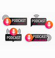 set podcast symbols icons with studio microphone vector image