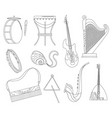 set various musical instruments tambourine drums vector image vector image