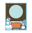 snowman and penguin with blank wooden sign card vector image