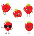 strawberry character with funny face vector image vector image
