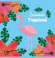 summer tropical flamingo flowers leaves poster vector image vector image