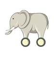 Toy elephant on wheels icon cartoon style vector image