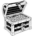 treasure chest line art vector image vector image