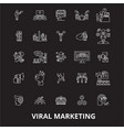 viral editable line icons set on black vector image vector image