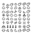 weather line icons set - big pack of 70 weather vector image vector image