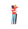 young men embracing each other happy meeting vector image vector image