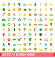 100 solar energy icons set cartoon style vector image vector image