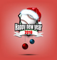 baseball ball with santa hat and happy new year vector image vector image