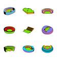 big stadium icons set cartoon style vector image vector image