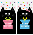 black cat family couple with gift box bow flyer vector image vector image