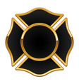 blank fire department logo base black and gold vector image vector image