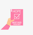 breast cancer awareness month hand hold medical vector image