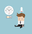 businessman sitting tired and low battery on vector image vector image