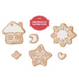 collection of hand drawn pastel gingerbread vector image vector image