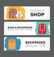 collection of horizontal banners with backpacks or vector image vector image