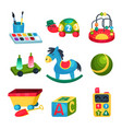 collection of various children s toys ball vector image