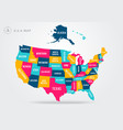 colorful map united states america vector image