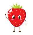 cute happy strawberry character emoticon vector image vector image