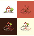 cute house logo and icon vector image vector image