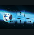 dark blue background with outline of the globe vector image
