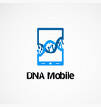 dna mobile logo concept icon element and template vector image vector image