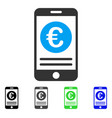 euro smartphone banking flat icon vector image vector image
