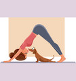 funny girl exercising next to her dog on yoga mat vector image vector image