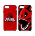 furious piranha sport logo concept smart vector image