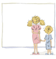 Girl and boy looking at blank board vector image vector image