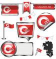 glossy icons with flag calgary alberta vector image