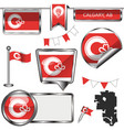 glossy icons with flag of calgary alberta vector image vector image