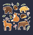 hand drawn forest animal set in a flat style vector image vector image