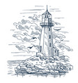 lighthouse sketch on island made of rocks vector image vector image