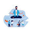 meditation concept big person sitting in lotus vector image vector image