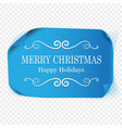 merry christmas greeting card blue curved vector image