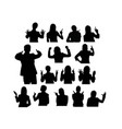 people with gesture finger silhouettes vector image