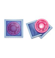 pink condom with packing vector image vector image