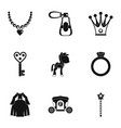 princess accessories icon set simple style vector image vector image