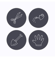 Scissors shovel and gloves icons vector image